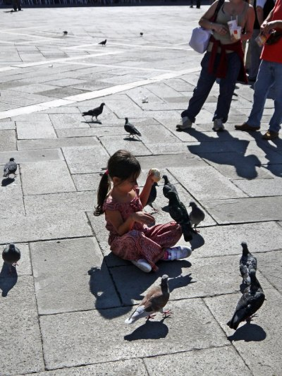 Girl feeding pigeons on San Marco square venice italy jermpins