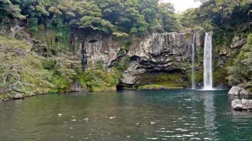 Cheonjiyeon waterfall jeju south korea