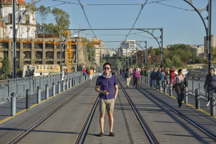 jermpins On the Metro track on top the Dom Luis I Bridge Porto